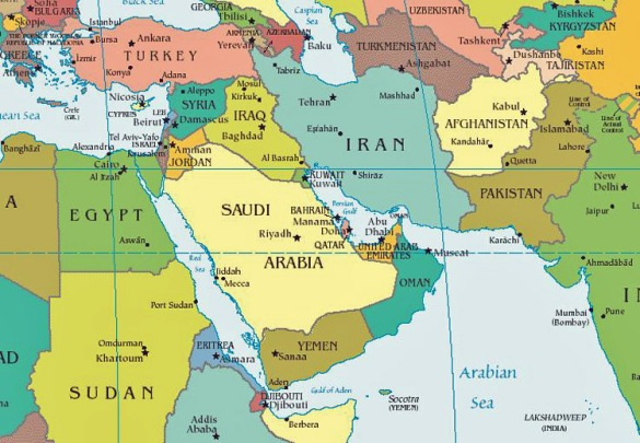 A map so you all can get a visual of where the (GCC) states lie on the map in relation to the rest of MENA. C'mon, you seriously thought you'd get away without another refresher in some geography?