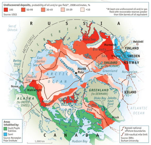 I can try to get into explaining this map, but to be honest, it's sort of confusing. But all the red and pink shades means there's fossil fuels that are potentially extractable. But the ice has to melt first.